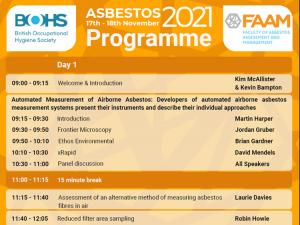 BOHS & FAAM - Asbestos Virtual Conference - 17 & 18 November 2021